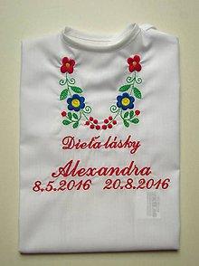 Detské oblečenie - Košieľka na krst K14, biela bavlna, červená výšivka - 7014116_