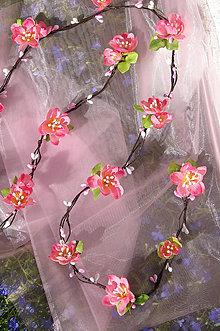 Ozdoby do vlasov - kvetinová liana ružová 140cm, typ 142 - 7017048_