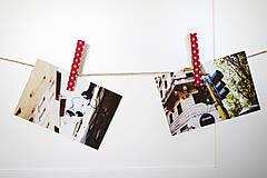 Dekorácie - Ozdobné štipce - retro bodky - 7014709_