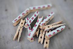 Dekorácie - Ozdobné štipce - vintage ružičky - 7015481_