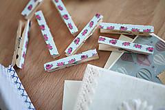 Dekorácie - Ozdobné štipce - vintage ružičky - 7015482_