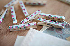Dekorácie - Ozdobné štipce - vintage ružičky - 7015483_