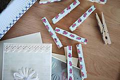 Dekorácie - Ozdobné štipce - vintage ružičky - 7015484_