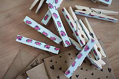 Dekorácie - Ozdobné štipce - vintage ružičky - 7015488_