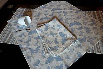 Úžitkový textil - Set Belasý motýľ: obrus, štóla, utierky - 7016646_