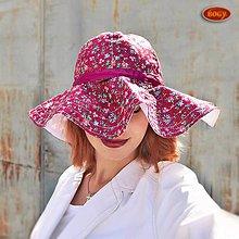 Čiapky - letní romantický klobouk s mega krempou a stužkou (obvod 55-58cm) - 7014168_