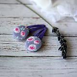- Pukačky dievčenské s buttonkami Fialkové kvietky - 7016800_