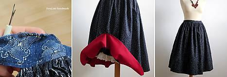 Sukne - premena starej modrotlačovej sukne - 7015294_