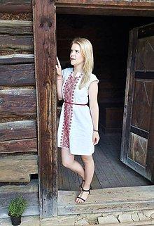 Šaty - Vyšívané ľanové šaty - 7014514_