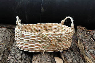 Košíky - Oválny košík - pedig (uši - pedig alebo špagát) - 7020251_
