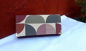 Peňaženky - Retro peňaženka na 12 kariet,koženka+bavlna - 7018223_
