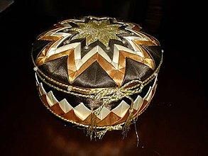 Dekorácie - okrúhla šperkovnica-falošný patchwork - 7017174_