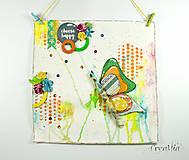 - Choose Happy - motivačný obrázok s motýľom na lúke oranžovo-zeleno-žltý - 7017453_