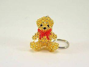 Kľúčenky - Zlatý macko s červenou mašľou - 7018163_