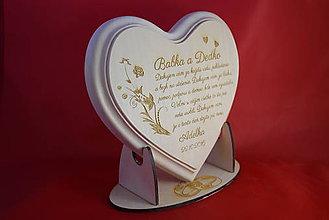 Darčeky pre svadobčanov - Poďakovanie starým rodičom lipove srdiečko + stojanček - 7017866_