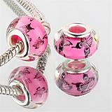 Korálky - PANDORA korálka - ružová s motýlmi - 7022034_