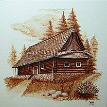 """Obrázky - Akrylová maľba """"Drevenička pri lese"""" - 7023073_"""