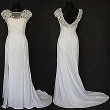 Šaty - Svadobné šaty z krajky s vlečkou - rovný strih - 7022194_