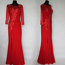 Šaty - Elastické spoločenské šaty s rukávom- strih morská panna - 7022351_