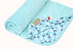 Textil - Minky deka celoročná Triangle & Mint 100x75cm - 7023897_