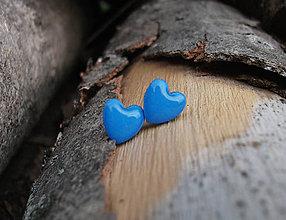 Náušnice - Srdiečka 9 mm (modré) - 7025802_