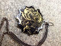 Sady šperkov - náhrdelník a náušnice čierno zlaté - 7024514_