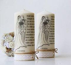 Darčeky pre svadobčanov - Dekoračná sviečka - poďakovanie svadobným rodičom V.. - 7024156_