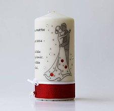 Darčeky pre svadobčanov - Dekoračná sviečka pre mladomanželov V. - 7024172_