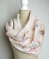 Šatky - Ručne maľovaný ľanový nákrčník ružovej farby - 7026294_