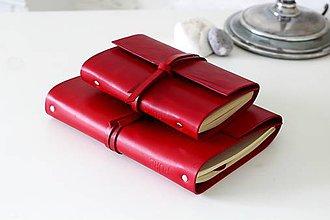 Papiernictvo - Kožený zápisník MINI RED A6 - 7026969_