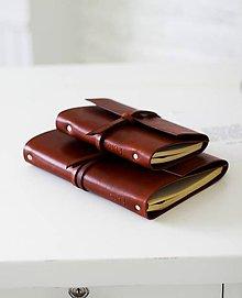 Papiernictvo - Kožený zápisník MINI BROWN A6 - 7027002_