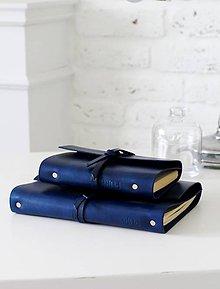 Papiernictvo - Kožený zápisník MINI ROYAL BLUE A6 - 7027062_