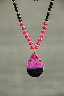 Náhrdelníky - Náhrdelník z minerálov achát, onyx a jadeit - 7025078_