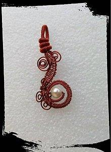 Náhrdelníky - Anna.....přívěsek z mědi a perličky - 7028489_