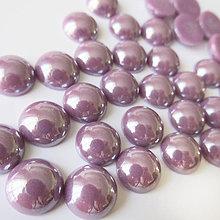 Komponenty - Sklenený perleťový kabošon / kruh 9,5mm (Čučoriedkový) - 7029107_