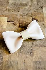 Doplnky - All leather... Bow Tie... #5... Natural - 7028502_