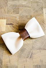 Doplnky - All leather... Bow Tie... #7... Natural - 7028527_