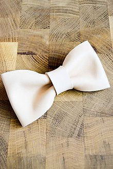 Doplnky - All leather... Bow Tie... #4... Natural - 7028415_