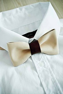 Doplnky - All leather... Bow Tie... #6... Natural - 7028509_