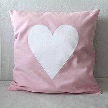 Úžitkový textil - Obliečka svetloružová so srdiečkom - 7027466_