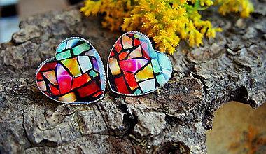 Náušnice - Veľké srdiečka s kamienkovým farebným vzorom - 7027467_