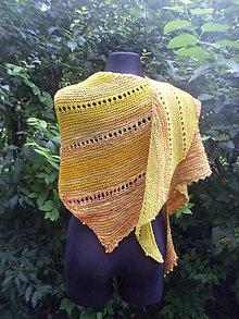 Šály - Slunce do zásoby...asymetrický pletený šátek - 7031312_