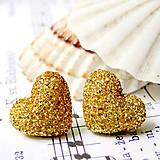 Náušnice - Sweet Hearts Gold / Napichovacie náušnice srdiečka zlaté (Chirurgická oceľ) - 7030001_