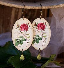 Náušnice - Ružová ruža - 7031202_
