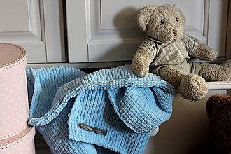 Textil - Mäkučká deka pre bábätko modrá - 7031700_