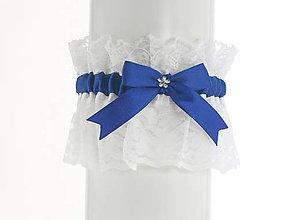 Bielizeň/Plavky - Saténový podväzok modrý s čipkou pre nevestu  02P - 7036099_