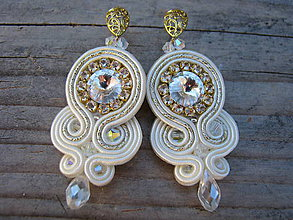 Náušnice - Simple teardrop...soutache (Vanilla/crystal) - 7032878_