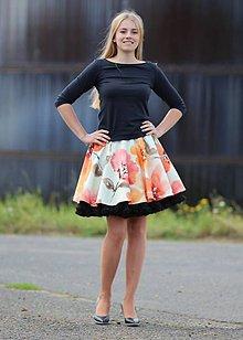 Sukne - FuFu sukně květovaná2 s černou spodničkou - 7035482_