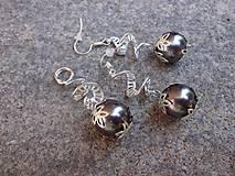 Sady šperkov - sada - náušnice a prívesok so šedou perlou - 7033396_