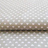 Textil - sivo-biele srdiečka; bavlnená látka 50 x 140 cm - 7035057_